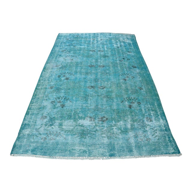 Overdyed Turquoise Rug - 5′2″ × 9′2″ For Sale
