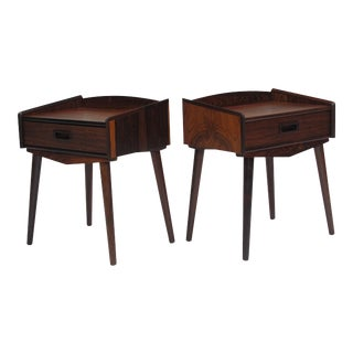 Danish Rosewood Nightstand Side Tables with Drawers - a Pair