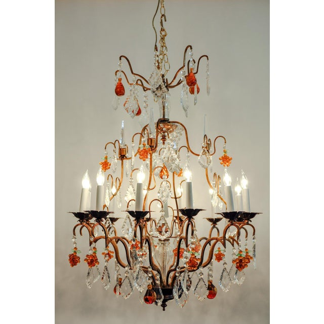 Vintage Venetian Murano crystal fruits design details chandelier with gilded brass frame. Excellent working condition....