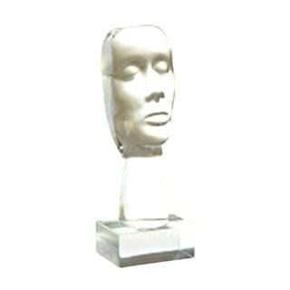"21st Century European Hand Blown Art Glass Bust ""Face"" Sculpture For Sale"