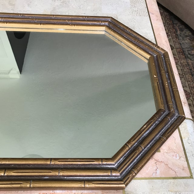 Vintage Faux Bamboo Octagonal Mirror - Image 3 of 5