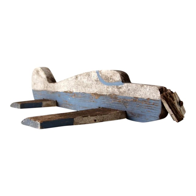 Vintage Wooden Toy Airplane For Sale