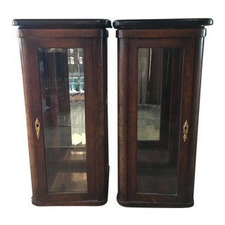 Antique Burled Wood Vitrine Cabinets - A Pair