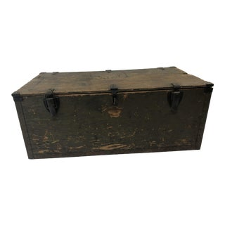 Vintage Military Green Wood Foot Locker Trunk For Sale