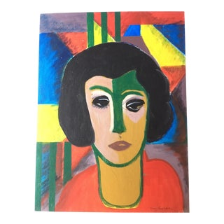 """""""Lady in Red"""" Mid-Century Cubist Portrait by Nancy Costa Ahlstrom For Sale"""