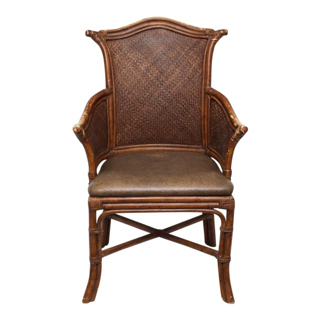 Vintage Chippendale Style Bamboo & Leather Chair - Image 1 of 9