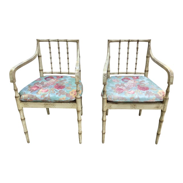 Faux Bamboo Chippendale Style Armchairs - a Pair For Sale
