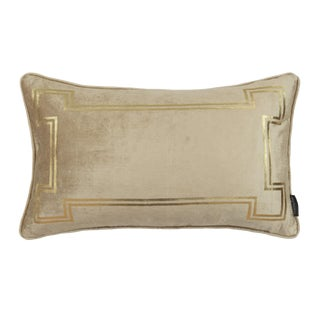 Contemporary Aria Taupe Velvet Lumbar Pillow With Gold Foil Accents For Sale