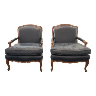 Bergere Style Leather Accent Chairs - Pair For Sale