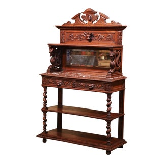19th Century French Henri II Carved Oak Sideboard Server With Marble Top For Sale