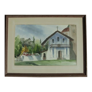 """Mid 20th Century """"Mission San Francisco's De Asis"""" Watercolor Painting, Framed For Sale"""
