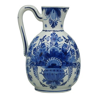 Antique Faience Delft Jug Hand Painted For Sale