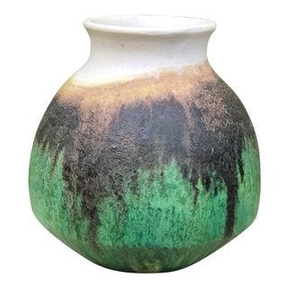 1960s Vintage Marcello Fantoni Italian Modernist Mid-Century Green Glazed Vase For Sale