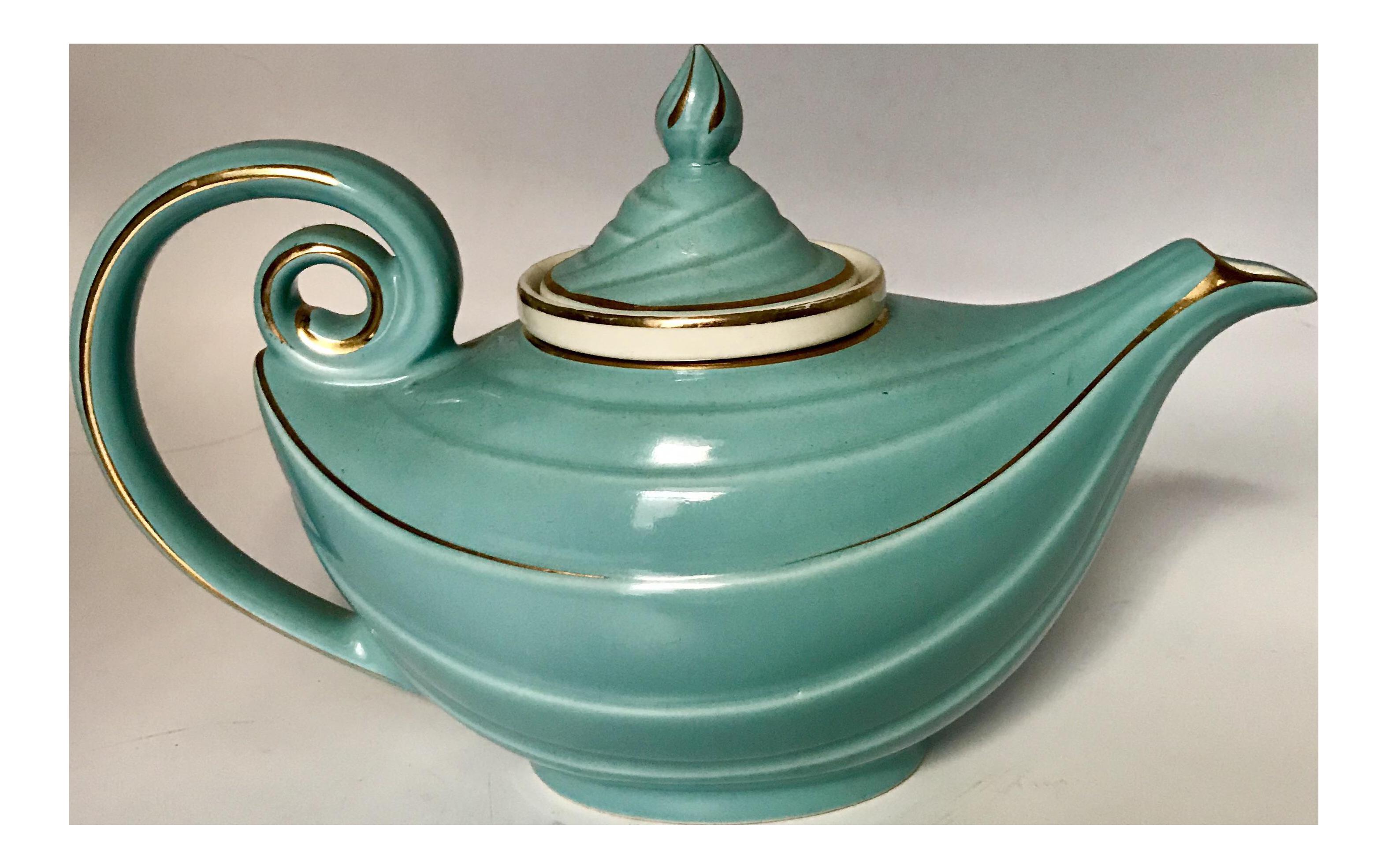 1950s Hall Tiffany Blue U0026 Gold Aladdinu0027s Lamp Teapot