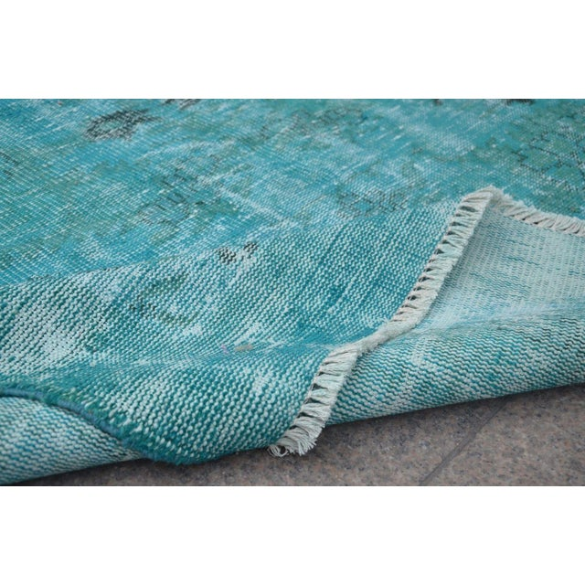 Overdyed Turquoise Rug - 5′2″ × 9′2″ For Sale - Image 6 of 6