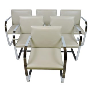Mies Van Der Rohe for Knoll Brno Flat Bar Chrome and Leather Chairs - Set of 6 For Sale