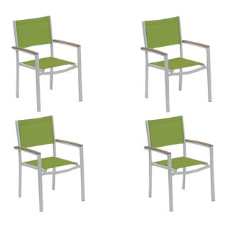 Outdoor Sling Lounge Chair, Vintage and Green (Set of 4) For Sale