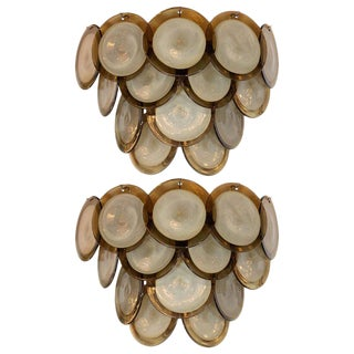 Modernist 14-Disc Sconces in Handblown Murano Topaz & Translucent Glass - a Pair For Sale
