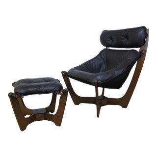 Scandinavian Odd Knutsen Brown Leather Luna Chair & Ottoman - A Pair