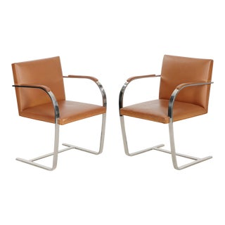 Pair of Vintage Mies van der Rohe for Knoll Leather & Steel BRNO Arm Chairs