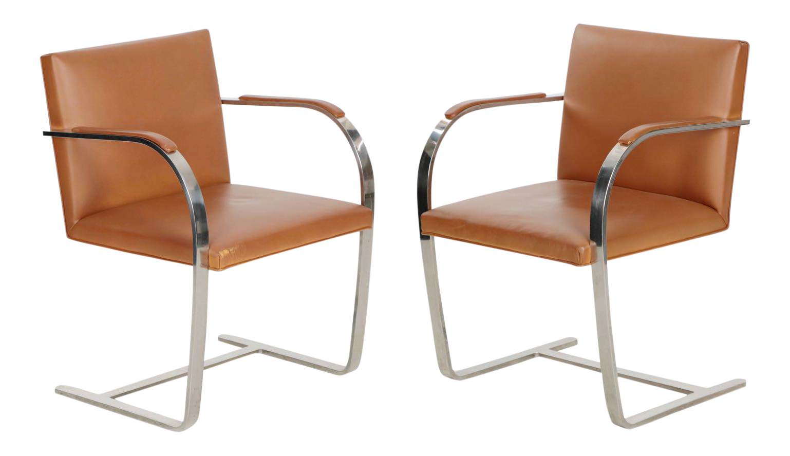 free pair of vintage mies van der rohe for knoll leather u steel brno arm chairs with fauteuil. Black Bedroom Furniture Sets. Home Design Ideas