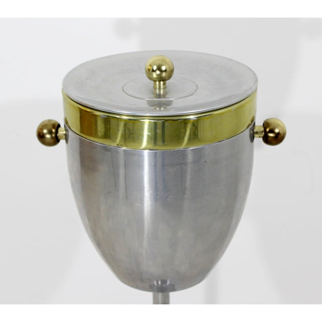 1940s Art Deco Aluminum and Brass Standing Champagne Ice Cooler For Sale - Image 5 of 10