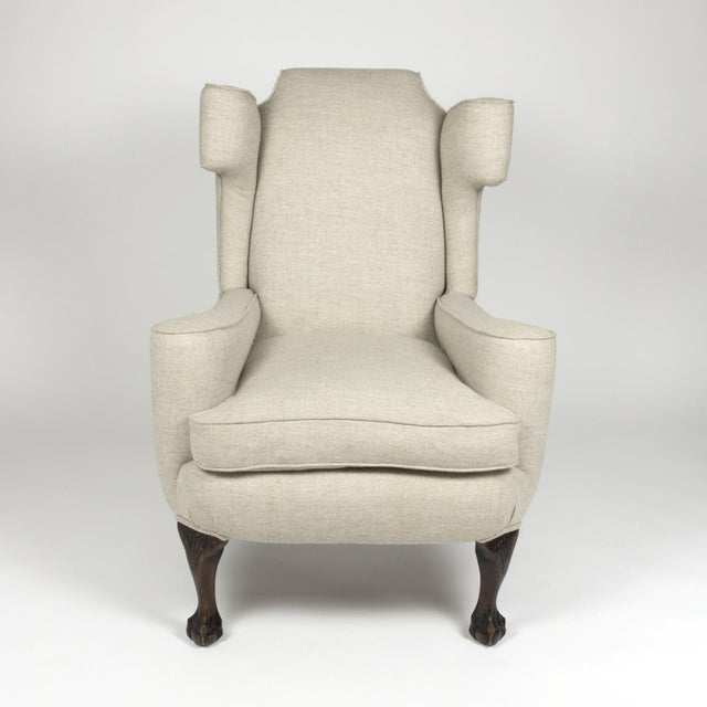 Late 19th Century Large Scale English Wing Chair With Mahogany Frame, Carved Mahogany Ball And Claw Feet, Circa 1870 For Sale - Image 5 of 13