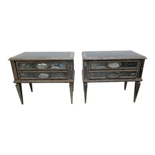 Christopher Guy Wooden Marble Insert Top Wall Tables - a Pair For Sale
