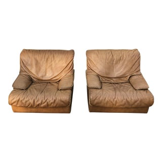 Roche Bobois Leather Armchairs - a Pair