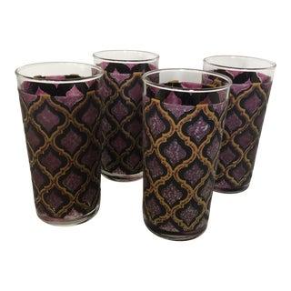 Vintage Boho Chic Diamond Patterned Glasses Set of 4 For Sale