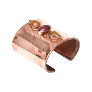 Artisan Copper and Glass Stones Cuff Bracelet Signed For Sale
