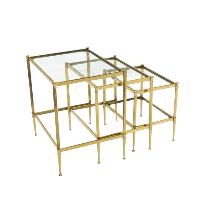 Set of Three Mid-Century Modern Brass Nesting End Tables For Sale