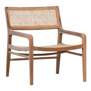 Teak & Cane Deco Arm Chair For Sale