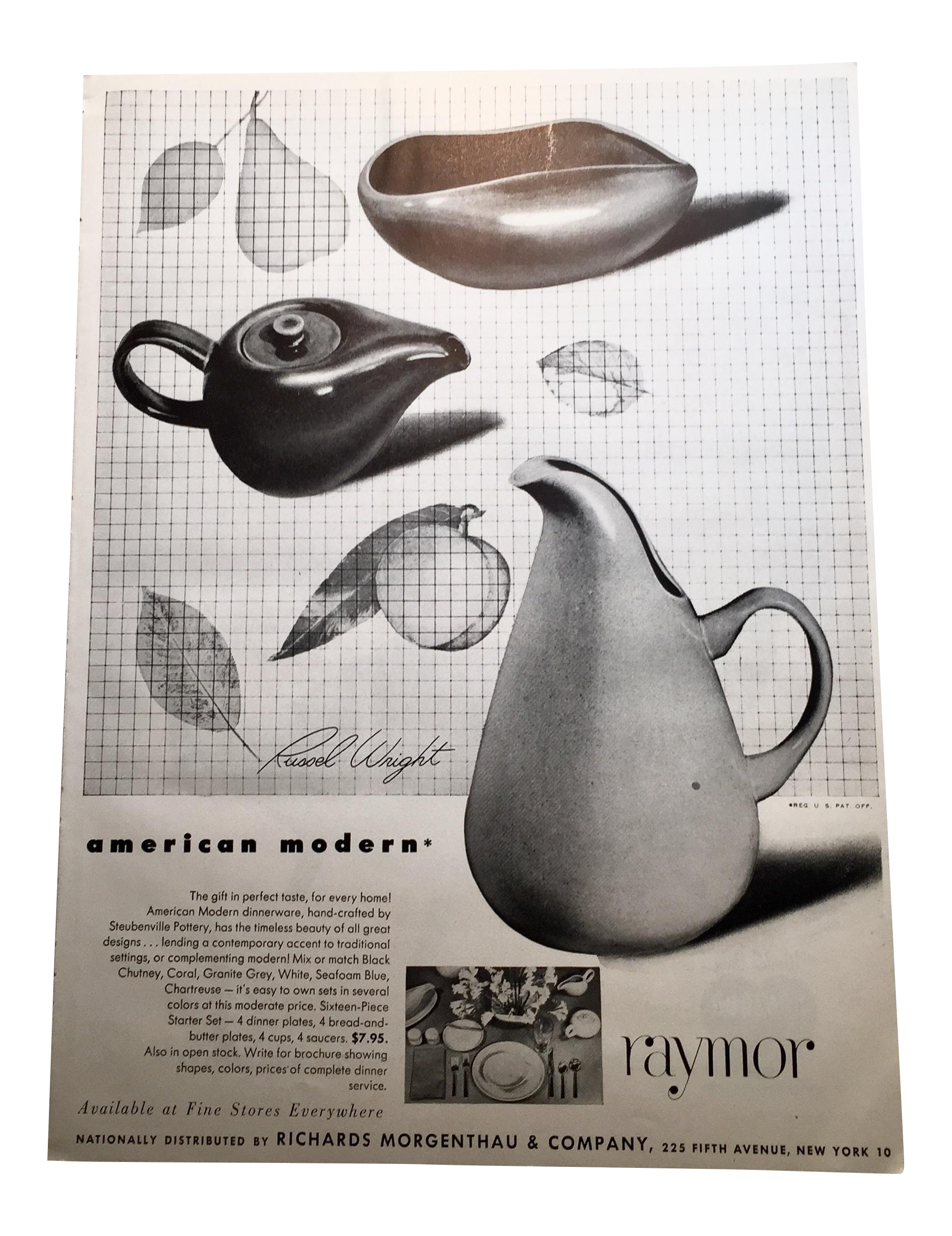 Russel Wright Dinnerware Raymor 1943 Advertisement - Image 1 of 4  sc 1 st  Chairish & Russel Wright Dinnerware Raymor 1943 Advertisement | Chairish