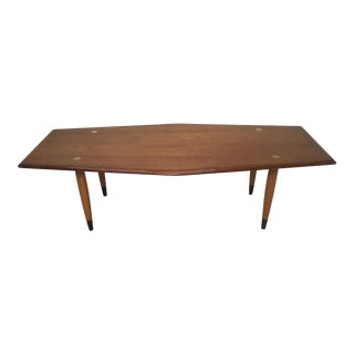 1950s Swedish Teakwood Coffee Table With Brass Inlay For Sale