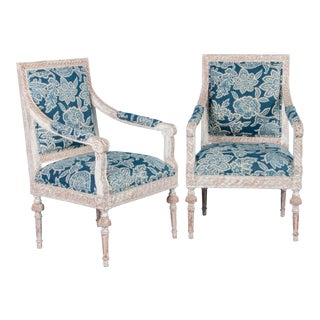 Early 19th Century Antique White Painted Gustavian Armchairs- A Pair For Sale