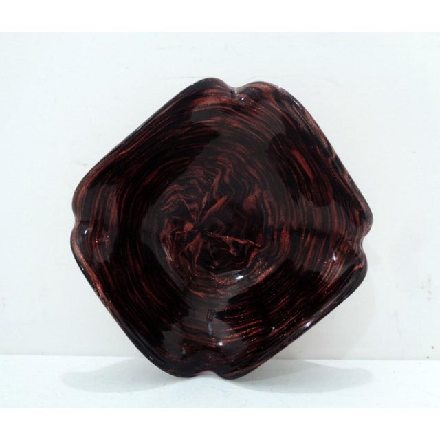 Metal Mid Century Venetian Murano Italy Swirl Dark Amethyst Art Glass Dish For Sale - Image 7 of 11