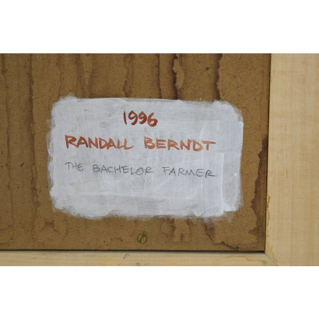 """Wood Randall Berndt """"The Bachelor Farmer"""" Painting on Board For Sale - Image 7 of 9"""