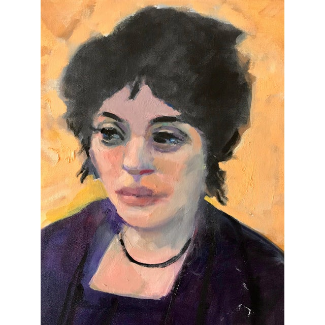 1970s Vintage Woman Seated in Chair Portrait Painting For Sale In Los Angeles - Image 6 of 7