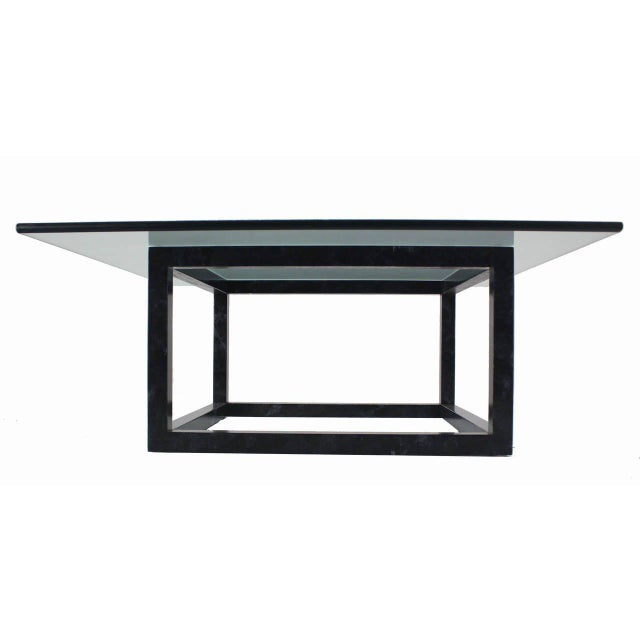 Mid-Century Modern Large Mid Century Modern Thick Glass Top Table Cube Shape Base For Sale - Image 3 of 7