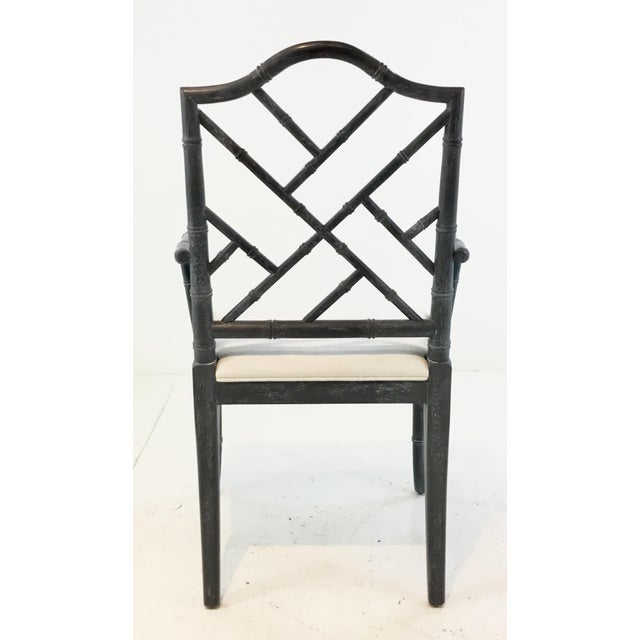 Worlds Away Modern Chippendale Style Gray Arm Chair For Sale In Atlanta - Image 6 of 7