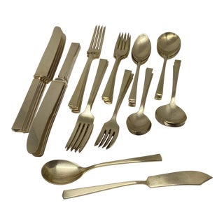 Vintage Dirilyte Brass Empress Flatware Set- Service for 8- Set of 42 For Sale