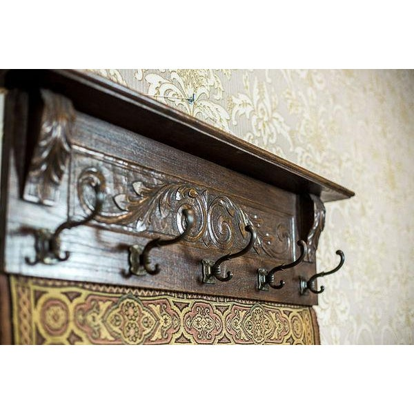 Brown 19th-Century Coat Hanger with a Tapestry For Sale - Image 8 of 13