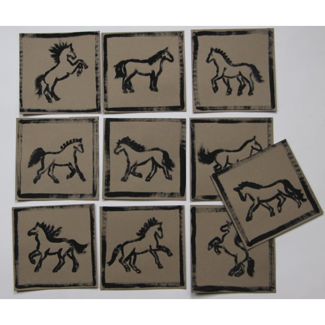 Watercolor Minimalist Set of 9 Horse Paintings by Cleo Plowden For Sale - Image 7 of 8