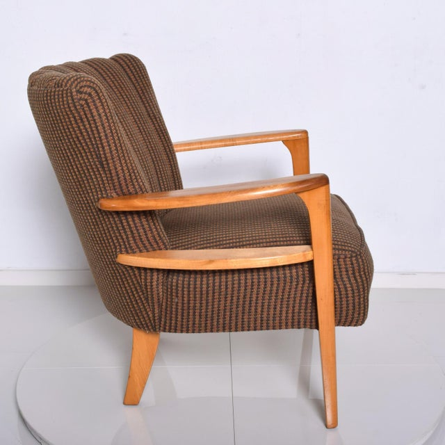 1950s Mid Century Modern Heywood Wakefield Maple Lounge Chair For Sale - Image 9 of 12