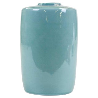 Late 20th Century Japanese Light Blue Kutani Celadon Glazed Vase For Sale