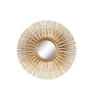 Sunburst Style Gold Wall Mirror For Sale