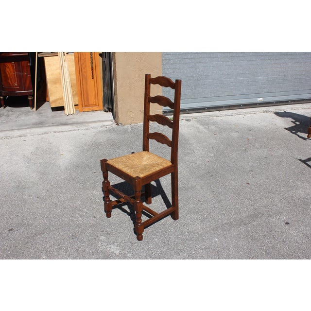 Early 20th C. Vintage French Country Rush Seat Walnut Dining Chairs- Set of 6 For Sale - Image 11 of 13