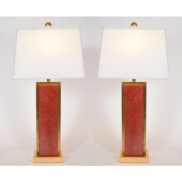 Gold Orange Jade Table / Task Lamps With Brass Accents - a Pair For Sale - Image 8 of 8