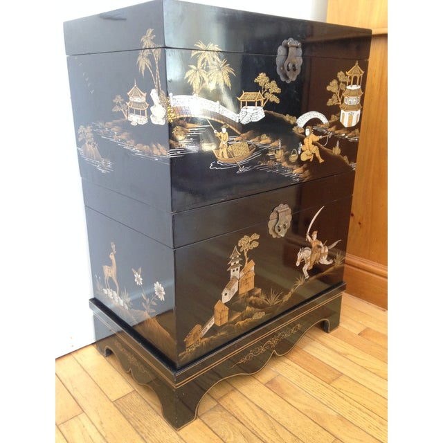 Vintage Chinese Laquered Chests - A Pair - Image 4 of 11